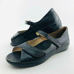Ziera Daffodil Womens 41w Black Slip On Mary Jane Peep Toe Sandals Shoes 10.5 US