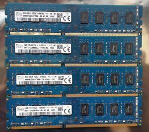 HYNIX 32GB (4x8GB) DDR3 Desktop RAM PC3L-12800U 1600MHz HMT41GU6BFR8A-PB TESTED
