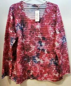 WOMENS L/S TEXTURED TOP BNWT'S - MILLERS/PINK & WHITE/SIZE 18