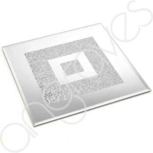 Lustre Silver Sparkle Glitter Mirrored Glass Dinner Placemat / Candle Plate