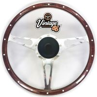 "Land Rover 15"" Classic Wood Rim Steering Wheel & Fitting Boss Kit Badged Horn"