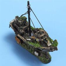 Aquarium Ornament Wreck Boat Sunk Ship Shipwreck Fish Tank Cave Decor Des WGL