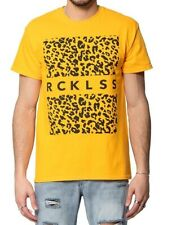 Young & Reckless Men's Yellow Size 2XL Leopard Graphic Tee Shirt $22 #159