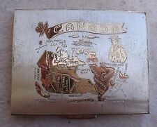 Vintage Canada Design Photo Compact,metal,1950s,silver & gold -map,mountie,fish