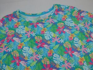 Womens Pajamas 2 Piece L XL 2XL or 3XL SOFT Blue Floral Palm