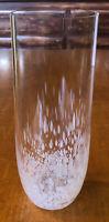 """Hand Blown White Confetti Bottom Glass Vase Opalescent Millefiori 8""""x3"""""""