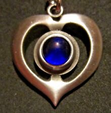 """Vintage '60's Pewter R TENNESMED Heart Pendant, 18"""" chain Mid Century Modern"""