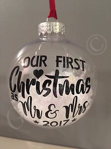 X2 Our First Christmas As Mr & Mrs 2021 Vinyl Sticker DIY Bauble Decoration