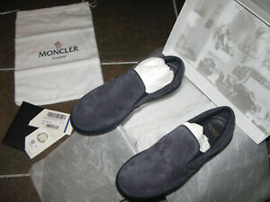 $275 Moncler Rosine Women's Shoes Navy Suede Slip On Leather Size 37 USA 7 NEW!!