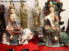China Copper Painted Wenshu Manjushri Samantabhadra Kwan-Yin Buddha Statue Pair