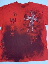 MMA Elite Cross Red Black White T-Shirt Size XL