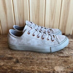 Womens Converse Trainers Lace Up UK 6 EU 39 Beige Pink Suede Leather Plimsolls
