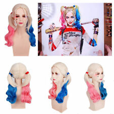 18''Suicide Squad Harley Quinn Wig Curly Blonde Pink Blue Mixed Hair Cosplay Wig