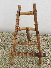 """Vintage Chinoiserie Burnt Bamboo Easel Photo Art Plate Picture Stand 8"""" H"""