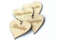 Wood heart name tags! Engraved name place setting/personalised/table/party/tags