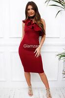 Glamzam New Womens Ladies One Shoulder Ruffle Sleeveless Midi Bodycon Dress
