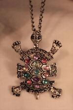Cute! Colorful Rhinestone Accented Turtle Tortoise Figural Brasstone Necklace