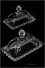 Set 2 Small Antique Glass Mini Individual Serving Clear Covered Butter Dish