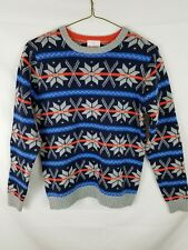 Hanna Andersson Womens Crew Neck Sweater Snowflakes 100% Cotton Blue Orange