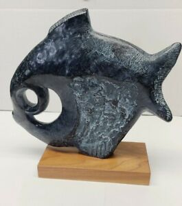 Mid Century Austin Klara Sever Carved Stone Tropical Fish Sculpture 1970 13x12