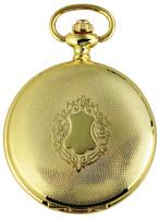 Excellanc Taschenuhr + Kette & Clip Weiß Gold Wappen Analog Quarz X480302000050