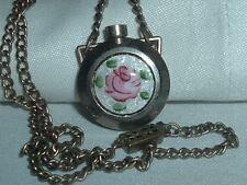 Antique Victorian Chatelaine Perfume Poison Bottle Guilloche Enamel Necklace