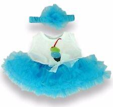 Teddy Bear Clothes fit Build a Bear Teddies Tutu Ice Cream Design Dress & Bow
