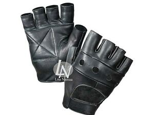 REAL LEATHER UNISEX MENS LADIES FINGERLESS DRIVING BIKE SPORT GYM CYCLING GLOVES