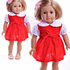 """New Handmade Red Dress with White collar outfits American Girl 18"""" Doll Selecti"""