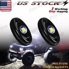 White Led Rock Lights 2 Pod Underbody Wheel Light For Jeep Offroad Truck Utv Atv