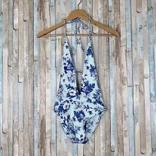 New Frankies Bikinis L Floral Print Halter Plunge Lily One Piece Swimsuit Blue