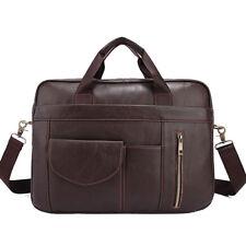Men's Genuine Cowhide Leather Tote Briefcase Messenger Shoulder Bag Laptop Bag