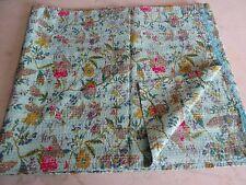Kantha Handmade Queen Quilt Indian Flower Cotton Vintage Blanket Bedspread Throw