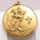 Antique Victorian LARGE Gold Filled GF Repousse Flower Fleur De Lis Paste Locket