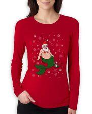 Santa Mermaid Poseidon Aqua Ugly Christmas Sweater Women Long Sleeve T-Shirt