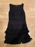 MINT VELVET Black Lace/Tassels Sleeveless Flapper Inspired Dress Size Uk 10