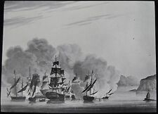 Glass Magic Lantern Slide HMS SLOOP IN BATTLE C1910 DRAWING ROYAL NAVY