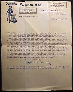 1901 *SPROEHNLE & CO.* (WATCHES) LETTERHEAD+UNCLE SAM! NOTABLE: JASPER N. SMITH!