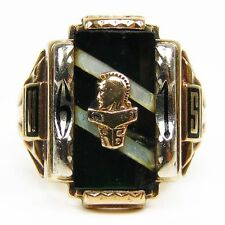 Antica College 1961 liceo Anello USA 375 verde oro Tg 64 Josten