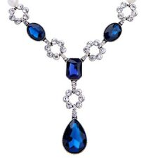 SAPPHIRE BLUE TEAR CRYSTAL RHINESTONE PEARL BEADED Chunky Silver Strand Necklace