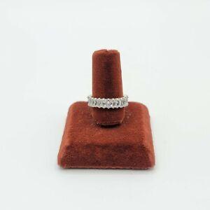 Sz 7.5 Eternity CZ Stackable Ring Band Baguette Cubic Zirconia Estate Jewelry