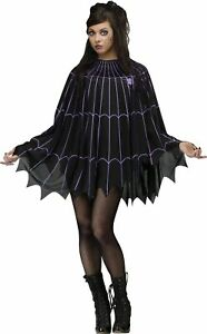 Womens Black Spiderweb Witch Vampire Spooky Poncho Adult Halloween Costume
