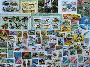 50 Different Prehistoric Animals/Dinosaurs on Stamps Collection