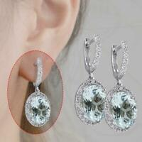 AQUAMARINE Sterling Aquamarine Gemstone Bridal Ear Studs Hoops Dangle Earring