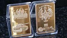 1 OZ GERMAN REICHSBANK STALINGRAD TANK COMMEMORATIVE GOLD BAR INGOT