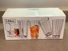 Libbey Abacus Cooler Ribbed Clear 16oz Glass 8 Piece Set, Open Box 418272