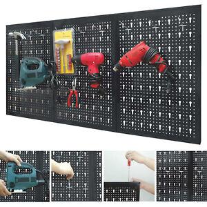 Peg Board Shelf Tool Organiser Garage Wall Rack Panel Hanging Storage Shed Steel