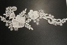 blanco crudo Encaje Floral Aplique/Decorativo Costura Motivo para venta. 28x11cm