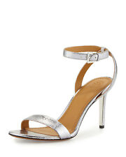 NIB Tory Burch Elana Size 9.5 Silver Pewter 85MM Leather Heels Sandals $295