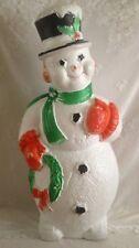"Vtg RARE Poloron Blow Mold Christmas Frosty Snowman Wreath  45"" Light Up w/ Cord"